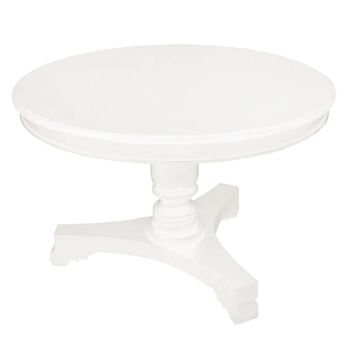 Queen AnnaTeak Wood Timber French Round Dining TableTEK168 DT 120 RD  ( White Colour)