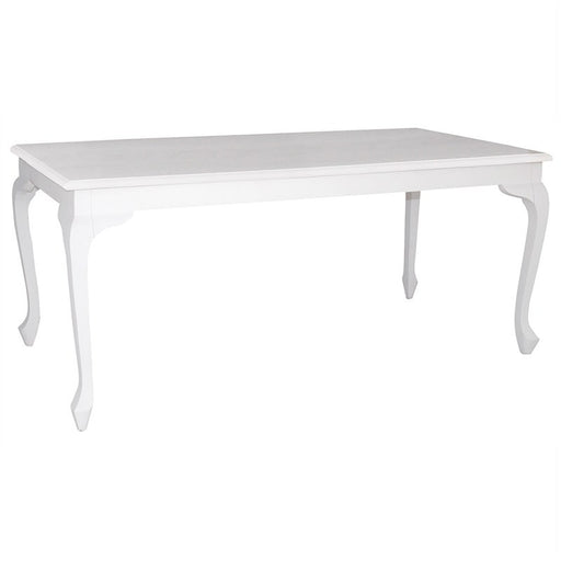 Queen Anna Solid Teak Wood Timber 180cm Dining Table - White TEK168DT-180-90-QA-WH_1