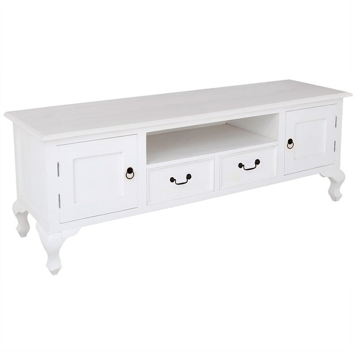 Queen Anna Solid Teak Wood Timber 2 Door 2 Drawer French TV Console Unit, 180cm, White Cabinet TEK168EU-202-QA-WH_1