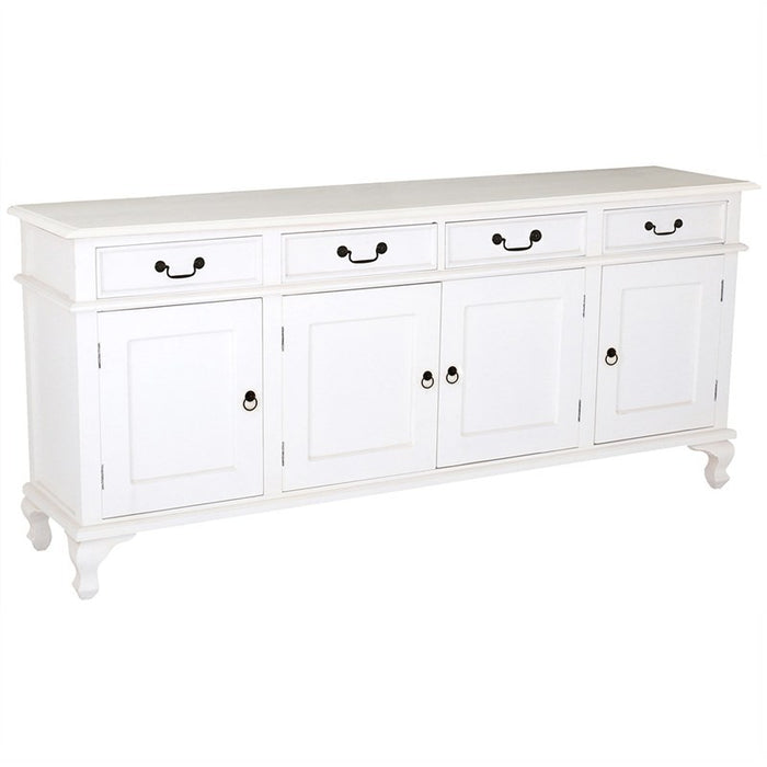 Queen Anna Solid Teak Wood Timber 4 Door 4 Drawer 200cm French Buffet Sideboard Table - White TEK168SB-404-QA-WH_1