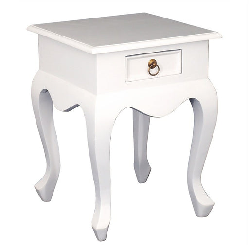 Queen Anna Solid Teak Wood Timber French Bedside Single Drawer Lamp Table - White TEK168LT-001-QA-WH_1