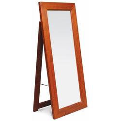 01 Member Special - Rectangular Mirror with Stand 65x150 Size: 65W 4D 150H TEK168 MR 65 150 SM  ( Light Pecan Colour )