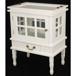 01 Member Special - Signature Rectangular Tea Side Table with Glass Storage Removable Tea Tray White Colour TEK168 TT 202 RC