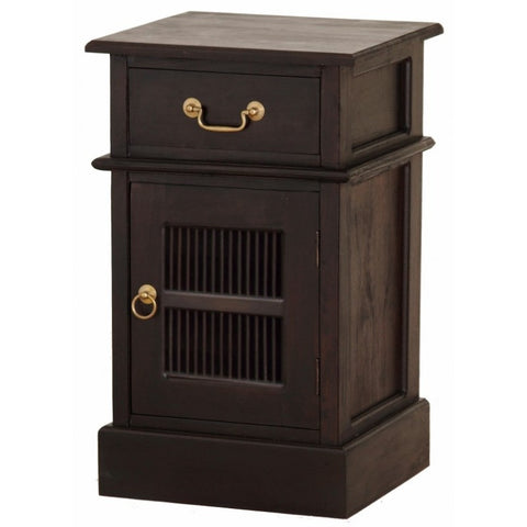 Ruji Side Table with 1 Drawer and 1 Slatted Door TEK168BS 101 DW Right Closed Door ( Chocolate Colour )