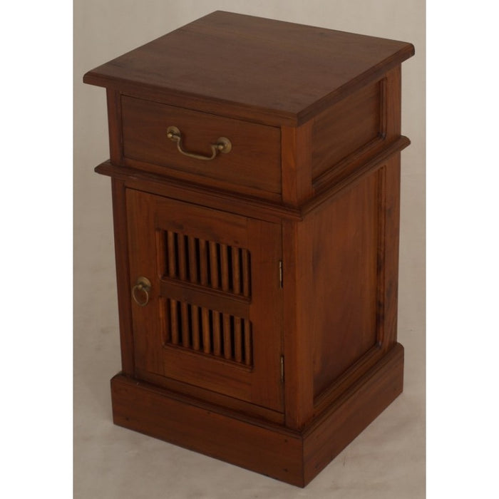 Ruji Side Table with 1 Drawer and 1 Slatted Door TEK168BS 101 DW Right Closed Door ( Mahogany Colour )