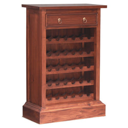SAN CLEMENTE Teak 1-Drawer-Wine-Rack-Bar Cabinet TEK168WR-001-PN