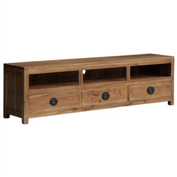 Venices Solid Wood Timber 3 Drawer TV Unit, TV Console 190cm, Teak TEK168SB-003-VIE-NT-1 ( Pre Order 8 - 12 weeks )