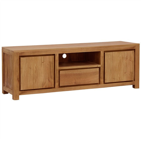 01 Member Special - Assen Amsterdam Solid Wood Timber 2 Door 1 Drawer TV Unit, TV Console 190 cm, 190 x 45 x 55 cmTeak TEK168SB-201-TA-NT-1 ( Picture Illustration Colour for Reference Only ) ( Light Pecan Colour )
