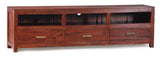 01 Member Special - Milan TV Console 3 Drawers Full Solid Wood TEK168SB 003 PNM ( Light Pecan Color )