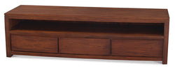 Biddinghuizen Amsterdam TV Console 3 Drawer with Long Bottom Shelf Full Solid TEK168SB 003 TA ( Mahogany Color  )