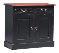 Albion Park Tasmania Buffet Sideboard 2 Door 2 Drawer Solid Wood Two Tone Light Pecan on Black Color TEK168 SB 202 PN ( in Distress Finish )