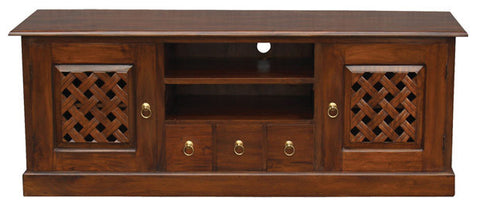 1 Member Special - New York TV Console Sideboard with Carvings 2 Door 3 Drawers 2 Open Shelves TEK168SB 203 CV ( Mahogany Colour )