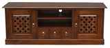 MP - New York TV Console Sideboard with Carvings 2 Door 3 Drawers 2 Open Shelves TEK168 SB 203 CV ( Light Pecan Colour )  ( Picture Illustration Colour for Reference Only )