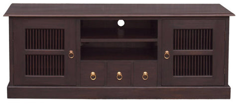 Ruji TV Console 3 Drawer 2 Slatted Door Solid Wood (Chocolate Colour ) TEK168SB 203 DW