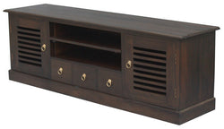Hawaii TV Console 2 Slatted Door 3 Drawers 2 Shelves TEK168SB 203 HSR  ( Chocolate Colour )