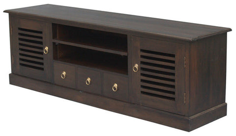 01 Member Special - Hawaii TV Console 2 Slatted Door 3 Drawers 2 Shelves TEK168SB 203 HSR ( Chocolate Colour )