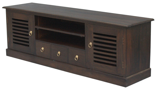 Hawaii TV Console 2 Slatted Door 3 Drawers 2 Shelves TEK168 SB 203 HSR  ( Chocolate Colour )
