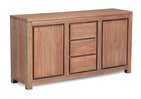 Amsterdam Buffet Sideboard 3 Drawers 2 Door Cabinet Full Solid TEK168 SB 203 TA EC ( Picture, Colour, Illustration for Reference Only ) (( Light Pecan Colour )
