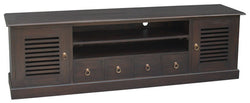 Hawaii TV Console 4 Slatted Doors 4 Drawers 2 Shelves TEK168SB 204 DHSR ( Chocolate Colour )