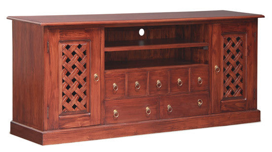 MP - New York TV Console Sideboard with Carvings 2 Door 7 Drawers 2 Open Shelves TEK168 SB 207 CV ( Mahogany Colour )