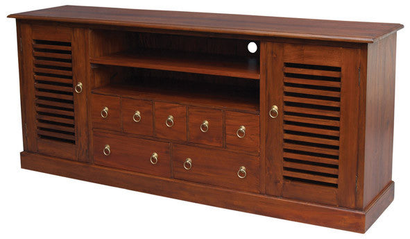 Hawaii TV Console 2 Slatted Doors 7 Drawers 2 Shelves TEK168 SB 207 HSR ( Mahogany Colour )