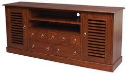 01 Member Special -  Hawaii TV Console 2 Slatted Doors 7 Drawers 2 Shelves TEK168 SB 207 HSR ( Chocolate Colour ) ( Picture Illustration for Reference Only )