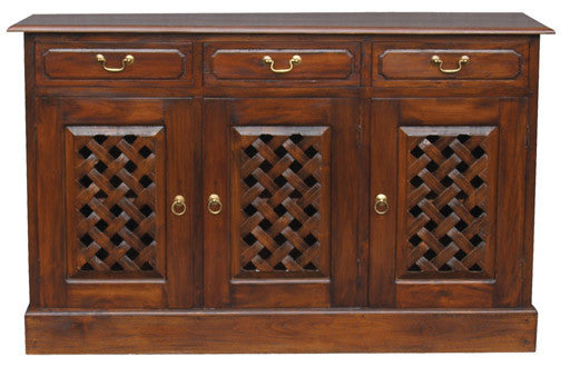 MP - New York Buffet Sideboard with Carvings 3 Door 3 Drawers TEK168 SB 303 CV ( Chocolate Colour )
