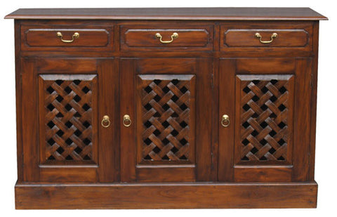 New York Buffet Sideboard with Carvings 3 Door 3 Drawers TEK168SB 303 CV ( Mahogany Colour )