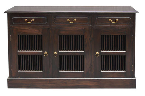 Ruji Buffet Sideboard 3 Slatted Door 3 Drawers Solid Wood TEK168SB 303 DW