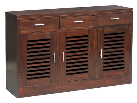 Holland Buffet Sideboard 3 Door 3 Drawers with 2 Shelves TEK168 SB 303 HSR FL SPO ( Mahogany Colour )