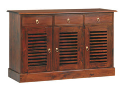 01 Member Special - Hawaii Buffet Sideboard 3 Slatted Door 3 Drawers TEK168SB 303 HSR ( Chocolate Colour ) ( Picture Illustration for Reference Only )