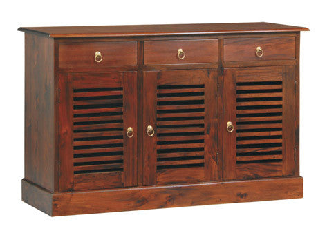 MP -  Hawaii Buffet Sideboard 3 Slatted Door 3 Drawers TEK168 SB 303 HSR ( Mahogany Colour )