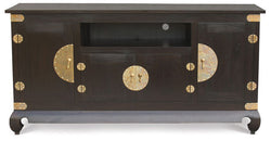01 Member Special - Chinese Oriental 4 Big Door 2 Small Door 1 Shelf for Entertainment Unit TEK168SB 400 CSN ( Chocolate Colour )