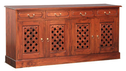 New York Buffet Sideboard with Carvings 4 Door 4 Drawers Mahogany Colour TEK168SB 404 CV Pre Order 3 Shelves Design