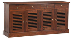 Hawaii Buffet Sideboard 4 Slatted Door 4 Drawers TEK168SB 404 HSR ( Chocolate Colour ) ( Picture Illustration for Reference Only )