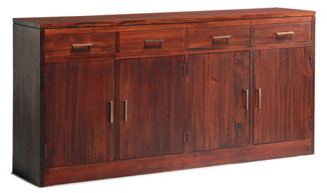 Milan Buffet 4 Doors 4 Drawers Cabinet Sideboard TEK168SB 404 PNMK (Chocolate Colour)