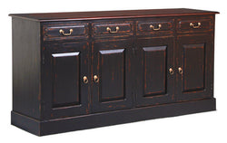 Tasmania Buffet Sideboard 4 Door 4 Drawers Solid Wood TEK168SB 404 PN ( Black Antique Colour Two Tone )