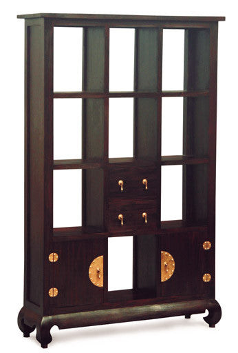 Chinese Oriental Display Cabinet Bookcase Divider  4 Drawer 2 Doors  Book Cabinet TEK168 SC 202 CSN ( Chocolate Colour )
