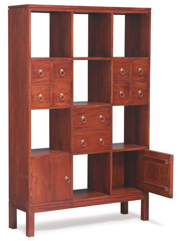 Amsterdam Display Bookcase Divider 10 Drawers 2 Door Book Cabinet TEK168 SC 210 PN ( Mahogany Colour )