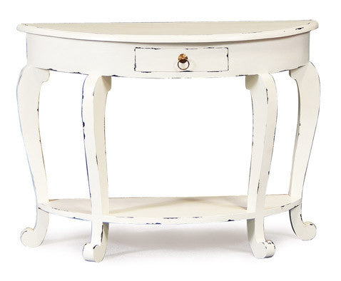 Queen AnnMary French Console Half Moon Design 1 Drawer with Bottom Shelf TEK168ST 001 HRCL Desk ( White Colour ) ( Distress )