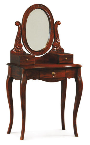 Queen AnnMary Dressing Table with Vanity Mirror 2 small jewellery drawers and 1 big drawer TEK168ST 001 MR CV Desk ( Mahogany Color )