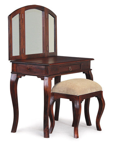 MP - Queen AnnMary Dressing Table with Stool Vanity Mirror 3 Folding Mirror 1 Big drawer TEK168 ST 001 MR QA ( Package ) ( Light Pecan Colour )