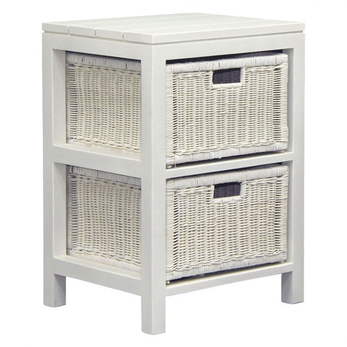 Coastal Living 2 Drawer Rattan Cabinet Lamp Table 48 cm Chest of Drawers TEK168 SB-009-RT ( White Colour )