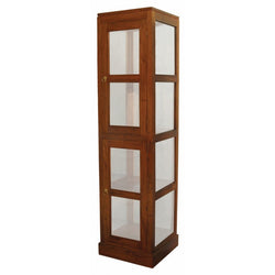 MP - Display Cabinet Range Square Glass Cabinet 1 Glass Door 4 Shelf TEK168 DC 200 SQ ( Light Pecan Colour )