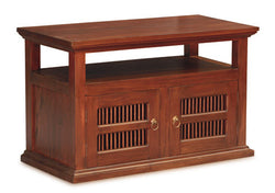 New York TV Stand 2 Carved Door Open Shelf Solid Wood TEK168 TV 200 DW ( Mahogany Colour )