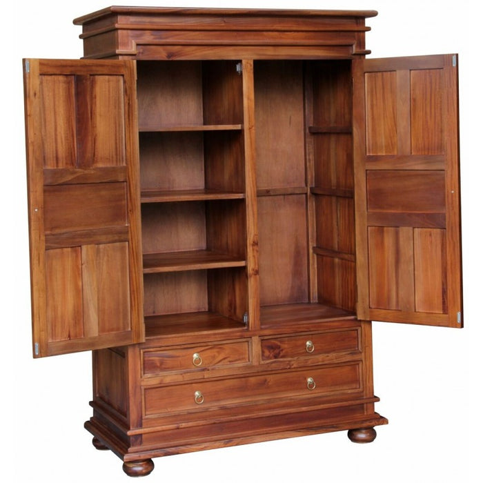 Tasmania 2 Door 3 Drawer Wardrobe Size 122W 62D 192H 3 Drawers and Storage TEK168 WD 203 PN ( Mahogany Colour )