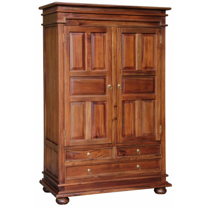 Tasmania 2 Door 3 Drawer Wardrobe Size 122W 62D 192H 3 Drawers and Storage WD 203 PN TEK168 WD 203 PN ( Picture Illustration Colour for Reference Only ) ( Light Pecan Colour )