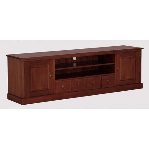 01 Member Special - Tasmania TV Console 2 Door 4 Drawers Solid Wood TEK168SB 204 PN ( Mahogany Colour )Exact Showroom Piece