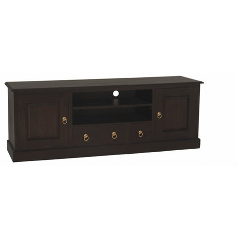 Member Special - Tasmania TV Console 2 Door 3 Drawers Solid Wood TEK168SB 203 PN ( Chocolate Colour )