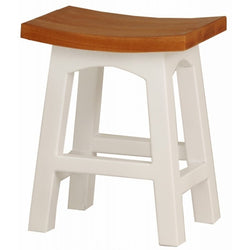 Member Special - Amst Solid Teak Timber 48cm Table Bar Stool, BR-048-WD ( Two Tone ) ( Light Pecan Caramel Top with White Base Leg ) ( Picture and Illustration for Reference Only ) ( Special Order 8-12 Week )